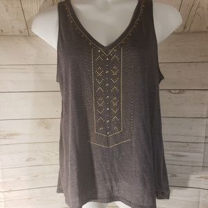 Knox Rose Gray Shimmery Embellished Top